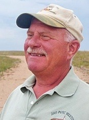 "Above: Bill Vodehnal has been a wildlife biologist for Nebraska Game and Parks Commission (NGPC) since 1982 focusing on prairie grouse management, research and habitat development on private and public lands. He also serves as the liaison between NGPC and US Forest Service, farm bill implementation, and outreach. Bill is best known for coordinating ""A Grassland Conservation Plan for Prairie Grouse"" which addresses the threats and conservation strategies to conserve grassland habitat for lesser and greater prairie-chickens and sharp-tailed grouse in the Great Plains. Bill has been an invaluable asset and supporter of STCP's current research project in the Nebraska Sandhills"