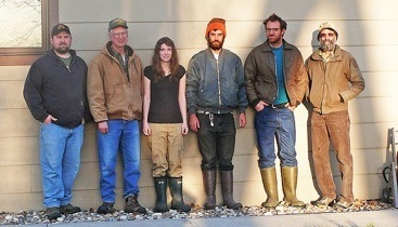The Nebraska trapping crew - L to R Tim Baker - Undergraduate student at University of MN, Crookston Terry Wolfe - Retired MN DNR Wildlife Biologist, Crookston, MN Krista Kenyon - Canadian Undergraduate student, at University of MN Perre Kerch - Artist, Ripon, WI Matt Rethaber - Photographer, Milwaukee, WI Gary Huschle - Retired USFWS Wildlife Biologist, Leonard, MN