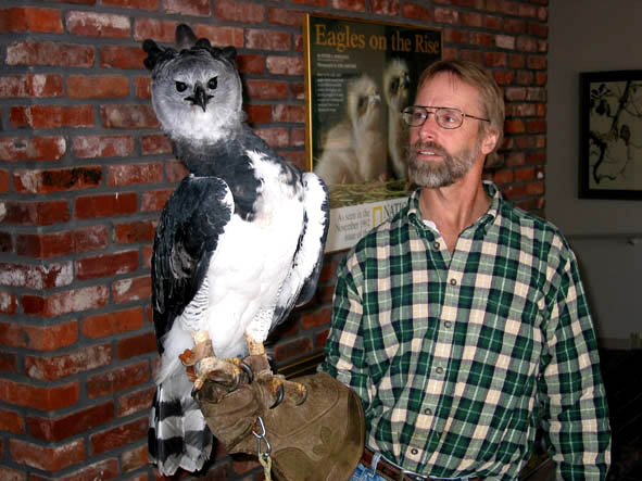 Neil Rettig with the large, majestic, and powerful Harpy Eagle