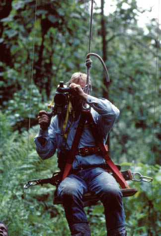 Neil developed ingenious methods for filming in the rain forest canopy