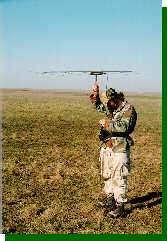 Radio-tracking Greater Prairie-Chickens in the Oklahoma prairie using a directional antenna.
